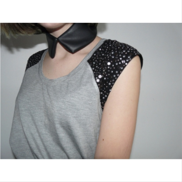 Tops - Grey Studded Shoulder Top